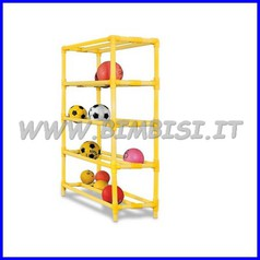 Scaffale portapalloni 5 ripiani 2 corsie 120x45x153h cm