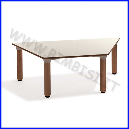 Tavolo trapezoidale materna gambe legno cm 130x57x53h linea milano