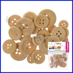 Bottoni in legno assortiti - 30 pz. - colore naturale