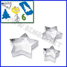 Stampini acciaio set 3 stelle