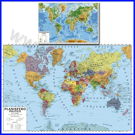 Carta geografica cm.100x140 - planisfero bifacciale da parete