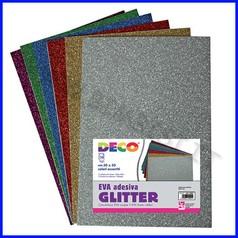 Gomma crepp glitter adesiva - busta 10 fogli cm.20x30 - color.ass.