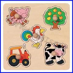 Puzzle legno c/pomelli cm.21x21 - in campagna (5 pz.)