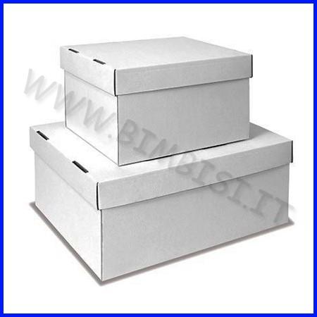 Scatola con coperchio - bianca cm.31x23x14