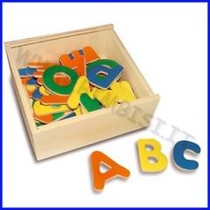 Lettere magnetiche - scat. legno 52 pz. cm.15x14x6