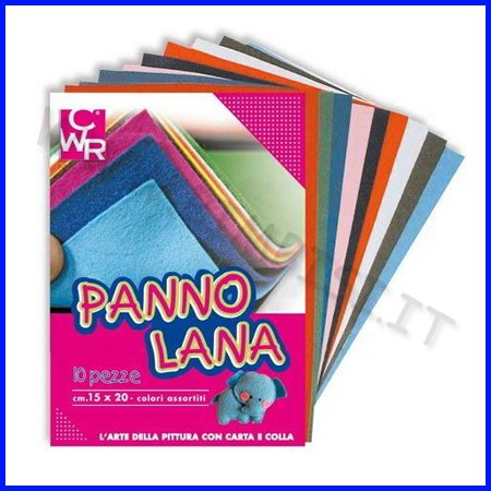 Panno lana - album 10 fogli cm. 15x20 col.ass.