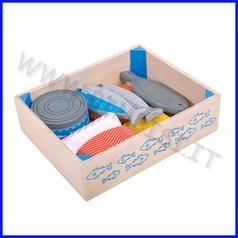 Alimenti in legno cassetta pescivendolo 10 pezzi