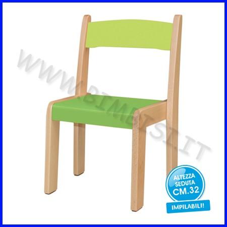 Sedia legno h 32 verde fino ad esaurimento