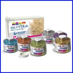 Glitter grana fine 6 barattoli ml.150 colori assortiti
