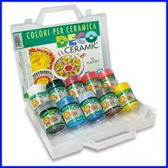 Colori per ceramica 10 flaconi ml.35 colori assortiti in valigetta