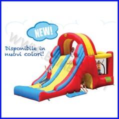 Castello gonfiabile happyhop combo mega scivolo 600x215x290 cm