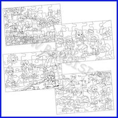 Set 4 puzzle le stagioni da colorare