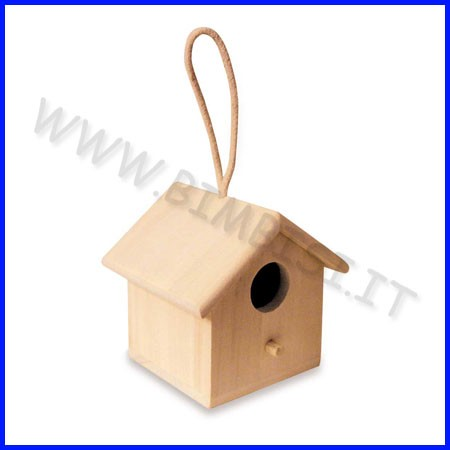 Supporti in legno: voliera con corda cm.13,5x13,5x10h