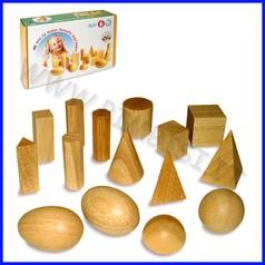 Solidi geometrici in legno - set 15 pz.