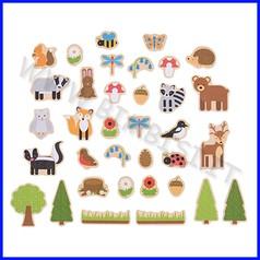 Soggetti magnetici legno bosco 35 pz