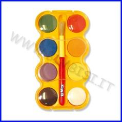 Acquarelli 8 pastiglioni + pennello