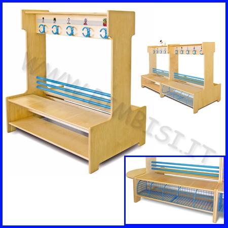 Spogliatoio bifacciale c/ripiano legno dim.cm 100x74x120h