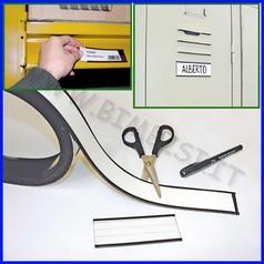 Portaetichette magnetico rotolo 3mt h4cm completo di cartoncino bianco