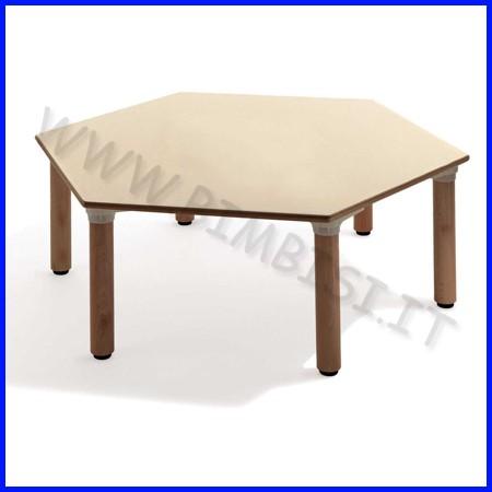 Tavolo esagonale materna gambe legno cm.130x114x53h linea milano