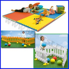 Area bimbi:4mq 2 set recinto play pen + 4 mattonelle in eva 100x100x1 cm