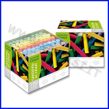 Gessi tondi antipolvere - conf.100 pz. - colori assortiti