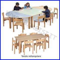 Tavolo rettangolare media/adulti 150x75x71