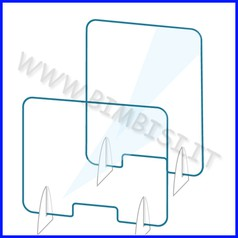 Barriera protettiva in plex orizzontale apertura e appoggi laterali cm 75.8x60