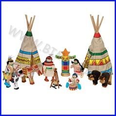 Villaggio degli indiani in legno - 14 pezzi