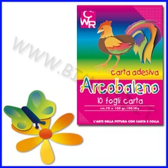 Carta arcobaleno adesiva 10 fogli 50x70