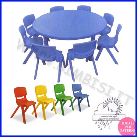 Tavolo tondo serie elite colore blu diam.cm.116x48h