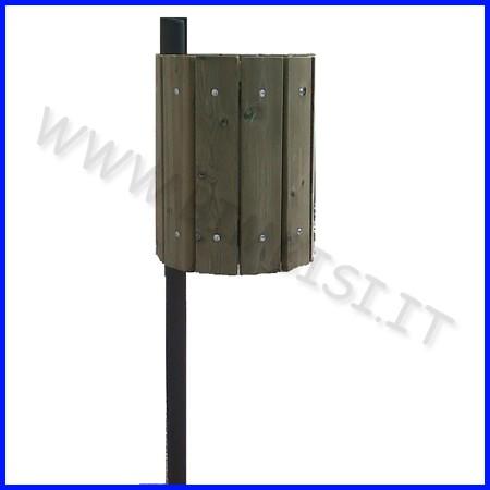 Cestino in acciaio zinc. rivestito legno capacita 32 lt