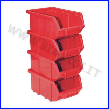 Contenitore con porta etich. cm.11,1x16, 8x7,6 - set 4 pz. - rosso