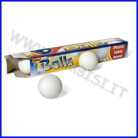 Palline ping-pong bianche diam. mm. 35 - scatola 6 pezzi