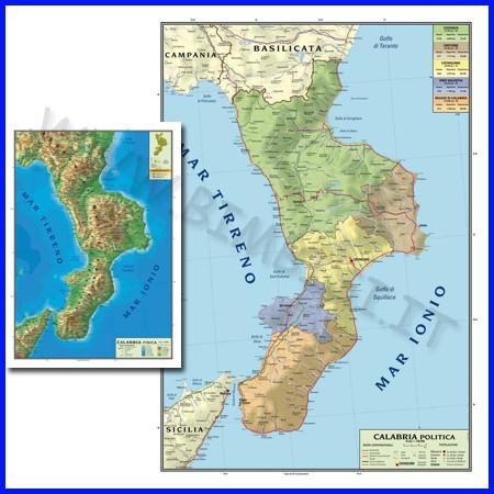 Carta geografica regionale calabria 100x140 bifacciale da parete