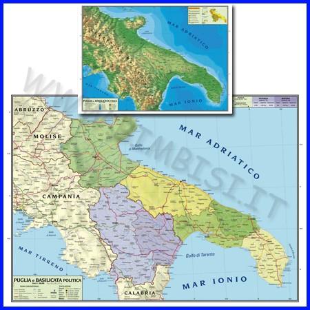 Carta geografica regionale puglia basili cata 100x140 bifacciale da parete