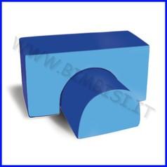 Nuvola ecopelle h60 cm ponte + semicilindro cm.120x60x60h - azzurro/blu