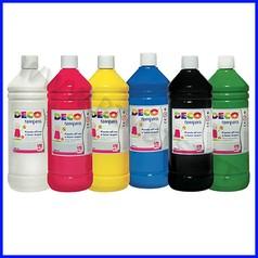Colori a tempera scatola 6 flac. ml1000 colori assortiti