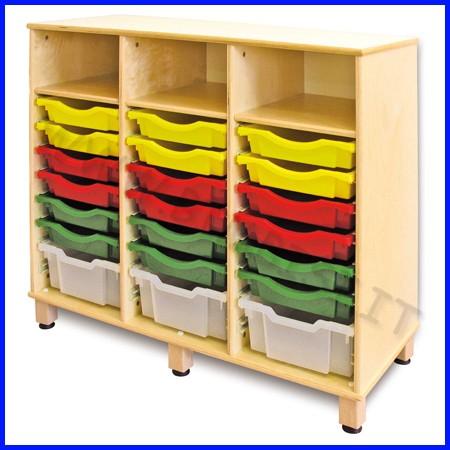 Cassettiera tripla in legno linea milano con 21 cassette cm 106x45x100h