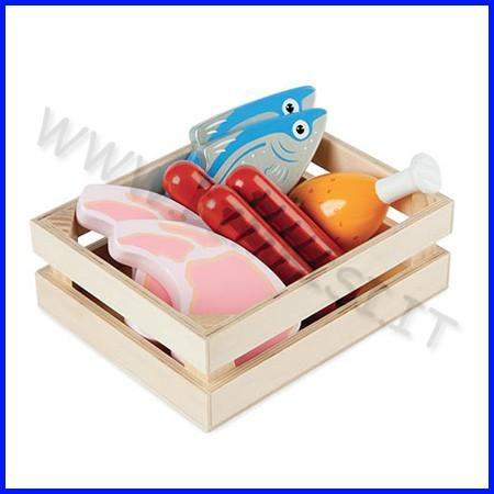 Alimenti in legno cassetta carne e pesce 7 pezzi