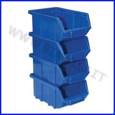 Contenitore con porta etich. cm.11,1x16, 8x7,6 - set 4 pz. - blu