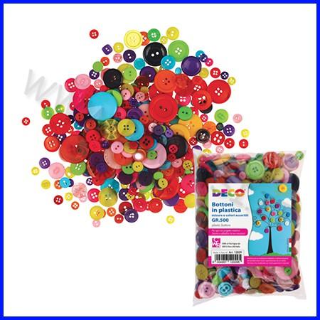 Bottoni in plastica assortiti - 500 gr. (+/- 650 pz.)