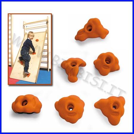 Appigli arancio set 6 pz per arrampicata in legno