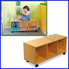 Panca/libreria in legno linea milano cm.36x92,5x42h 3 scomparti