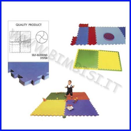 Tappetone sicurezza incastro 100x100x1cm tinta unita monocolore giallo esauriment