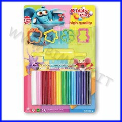 Kiddy clay - plastilina gr.200 + accessori - blister