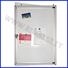 Bacheca magnetica verticale con anta e serratura alluminio 70x100cm in esaurim