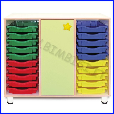 Cassettiera 20 cassetti + 3 vani anta h.cm.100 - verde linea simply fino ad es
