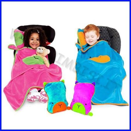 Snoozihedz coperta cuscino da viaggio rosa