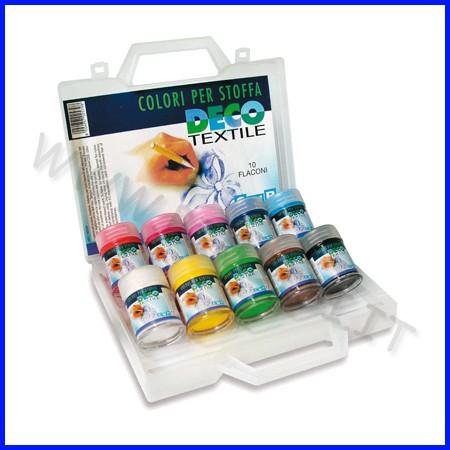 Colori per stoffa 10 flaconi ml.35 colori assortiti in valigetta