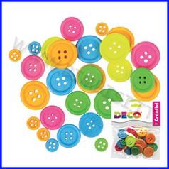 Bottoni in legno assortiti - 30 pz. - colori neon